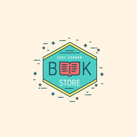 Bookstore Ad with Open Book Icon Logo – шаблон для дизайна
