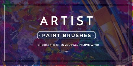 Paint brushes store Offer Twitter Tasarım Şablonu