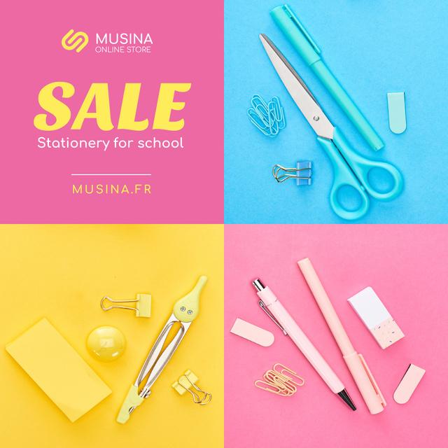 Szablon projektu Sale Announcement School Stationery in Color Instagram