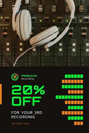 Template di design Recording Equipment Sale with Headphones on Mixing Console Pinterest