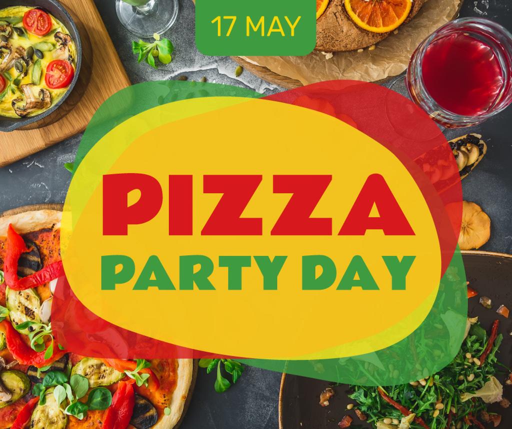 Plantilla de diseño de Pizza Party Day festive table Facebook