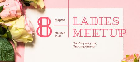 Template di design Women's Day meetup announcement with Roses VK Post with Button