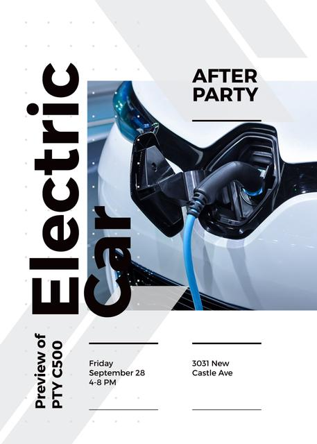 After Party invitation with Charging electric car Flayer Design Template