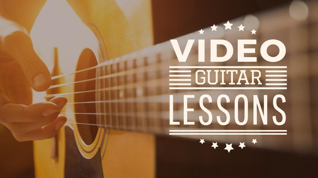 Music Lessons Ad with Man Playing Guitar — Crear un diseño