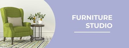 Ontwerpsjabloon van Facebook cover van Furniture Studio Ad with Cozy Green Armchair