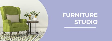 Modèle de visuel Furniture Studio Ad with Cozy Green Armchair - Facebook cover