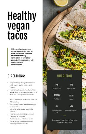 Vegan Tacos dish Recipe Card Modelo de Design