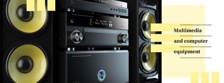 Plantilla de diseño de Multimedia player and large speakers Facebook cover