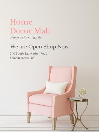 Furniture Store ad with Armchair in pink Poster US – шаблон для дизайну