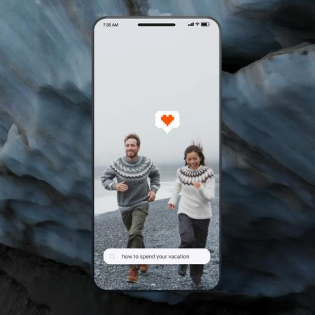 Travel Tips Couple at the Beach in Iceland  Animated Post Modelo de Design