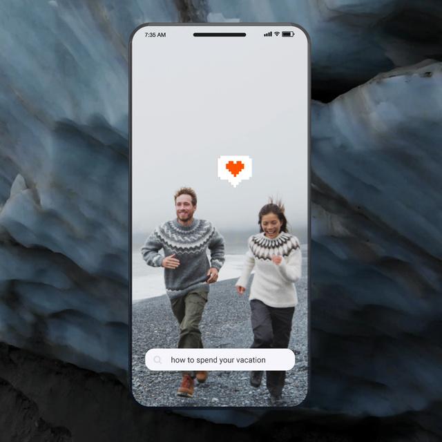 Ontwerpsjabloon van Animated Post van Travel Tips Couple at the Beach in Iceland