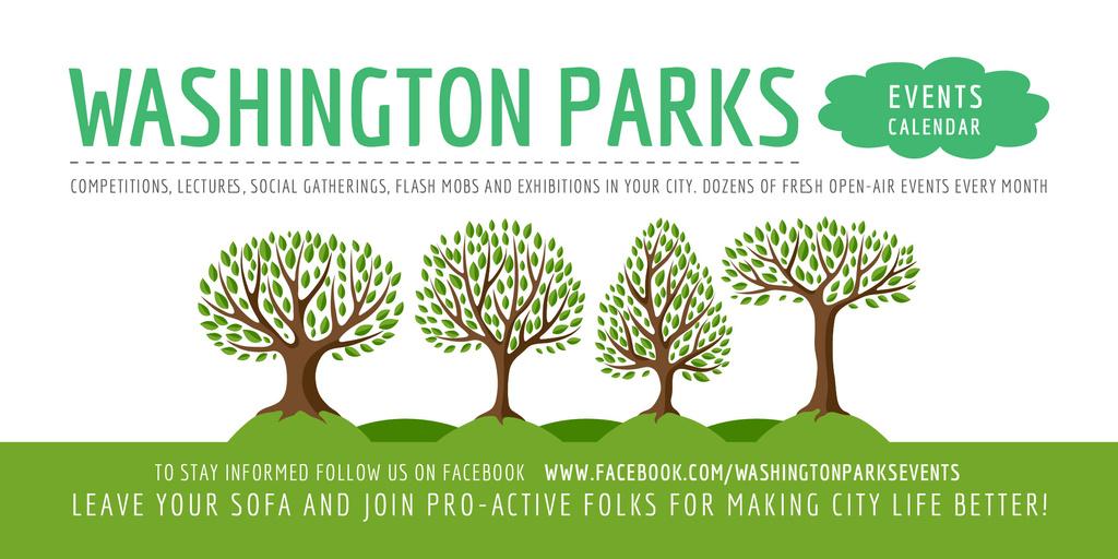 Park Event Announcement with Green Trees — ein Design erstellen