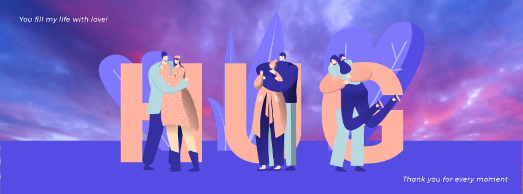 Loving Couples Hugging in Blue — Modelo de projeto