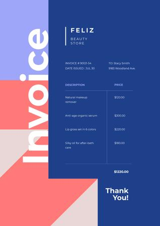 Plantilla de diseño de Beauty Store services on Geometric Abstraction Invoice