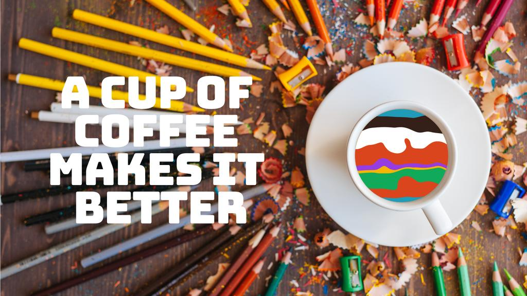 Coffee Quote Pencils Around Cup with Colorful Waves | Full Hd Video Template — Modelo de projeto