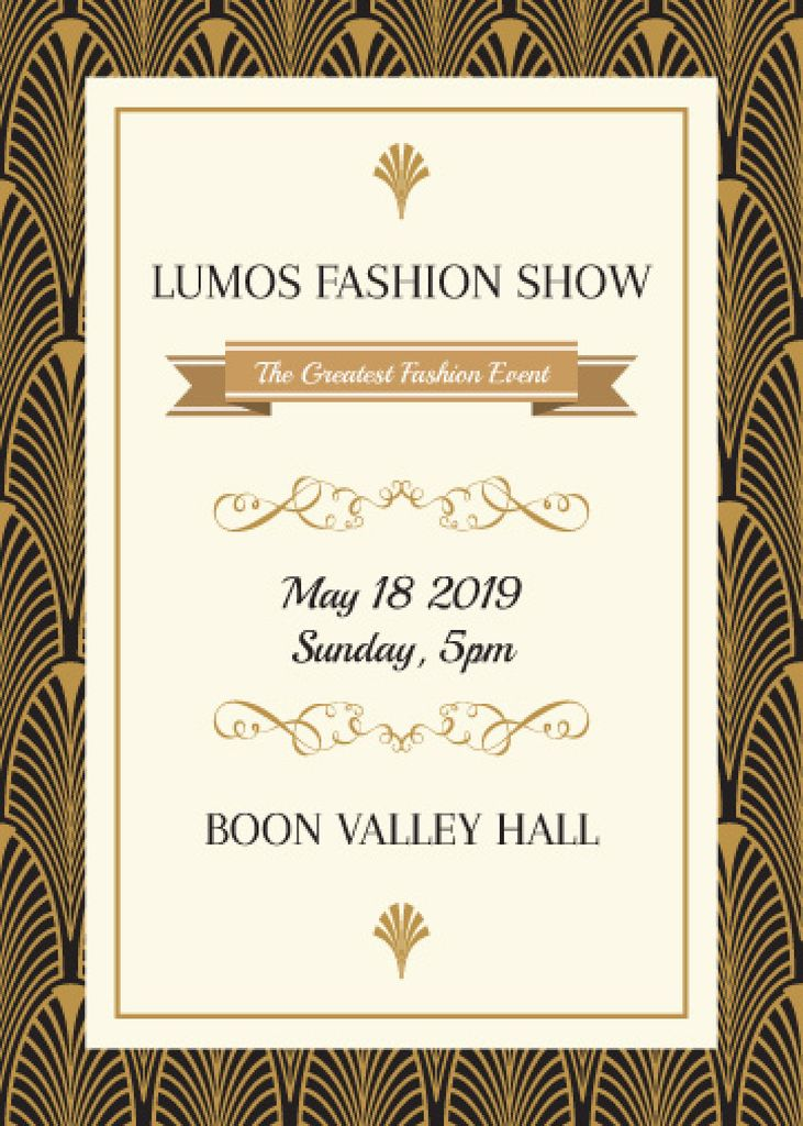 Fashion Show Invitation Golden Art Deco Pattern | Flyer Template — Créer un visuel