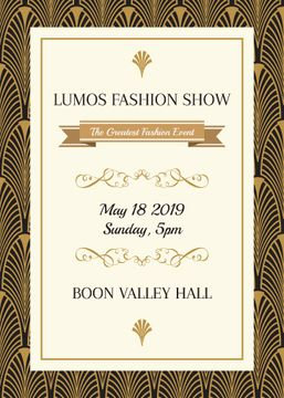 Fashion Show Invitation Golden Art Deco Pattern | Flyer Template