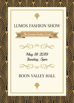 Event Flyer in Art Deco Golden Pattern