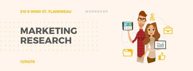 Colleagues presenting report Facebook Video cover – шаблон для дизайна