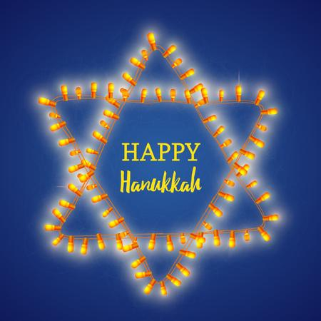 Happy Hanukkah greeting with light bulbs Animated Post Modelo de Design