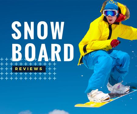 Ontwerpsjabloon van Facebook van Man Riding Snowboard in Snowy Mountains