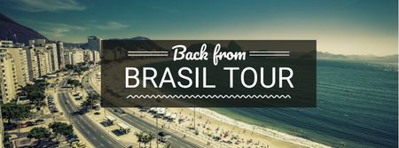 Brasil tour advertisement with view of City and Ocean Facebook coverデザインテンプレート