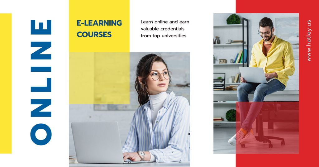 Online Courses Ad People Working on Laptops — Создать дизайн