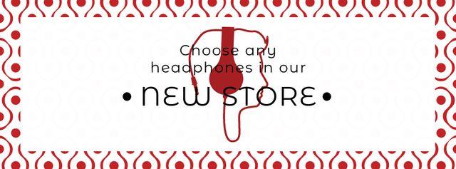 Plantilla de diseño de Gadgets Sale Man in Headphones Facebook cover