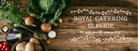 Catering Service Ad with Vegetables on Table Facebook cover Design Template