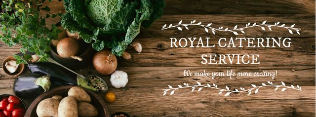Catering Service Ad with Vegetables on Table Facebook cover Modelo de Design