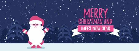 Plantilla de diseño de Christmas Greeting Funny Jumping Santa Claus Facebook Video cover