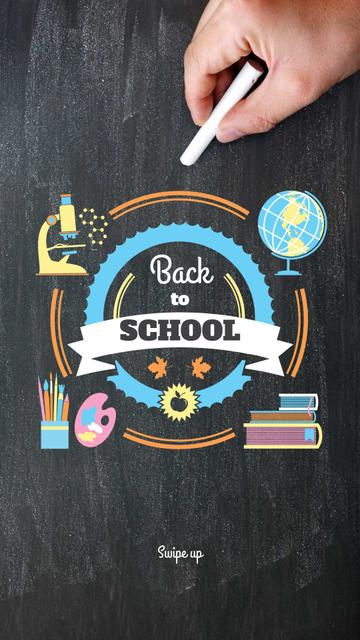 Back to Schools education and sciences icons Instagram Story Modelo de Design