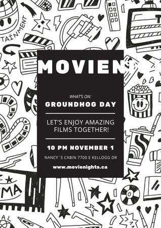 Movie night event on Groundhog Day Poster Modelo de Design