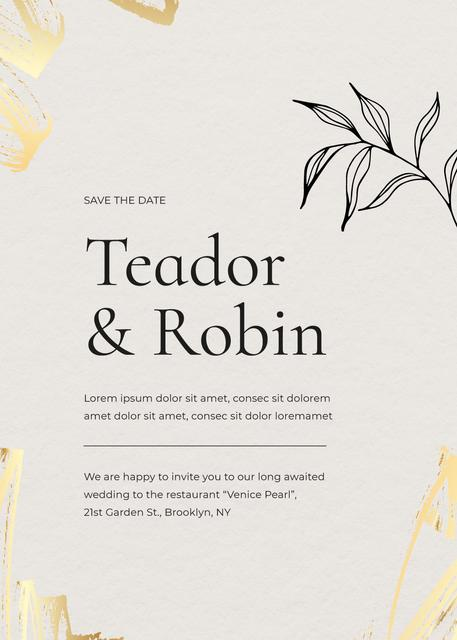 Wedding Day Announcement with Leaf Illustration Invitation Design Template