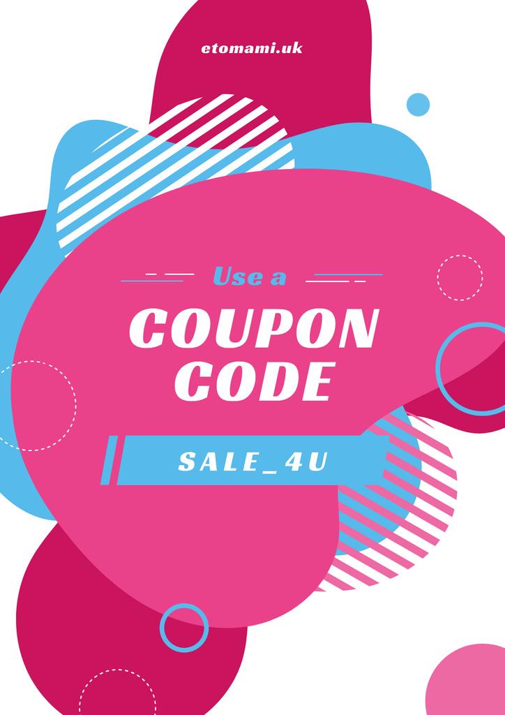 Sale Coupon Minimalistic Geometric Pattern in Pink — Maak een ontwerp