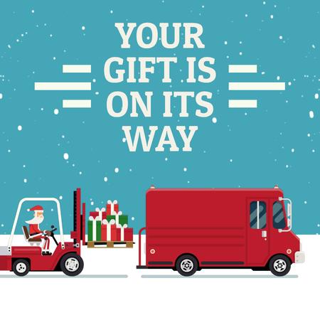 Plantilla de diseño de Santa loading gifts in truck Animated Post
