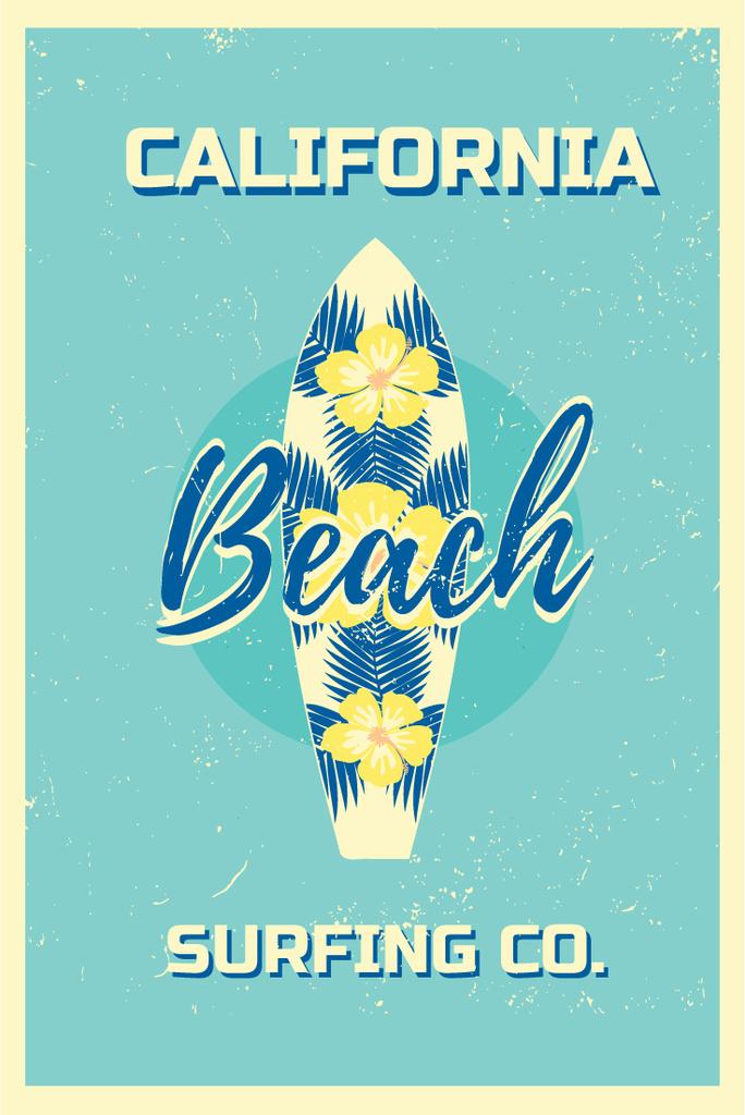 Surfing Tour Offer Surfboard on Blue — Crea un design