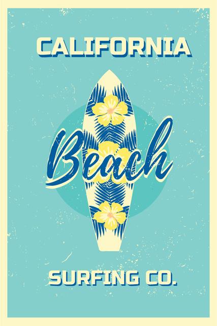 Plantilla de diseño de Surfing Tour Offer Surfboard on Blue Pinterest