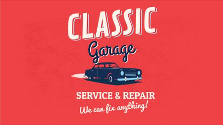 Plantilla de diseño de Garage Ad Vintage Car on Red Background Full HD video