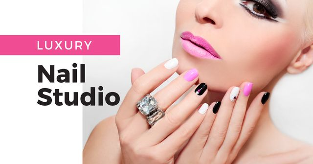 Female Hands with Pastel Nails for Manicure trends Facebook AD Design Template