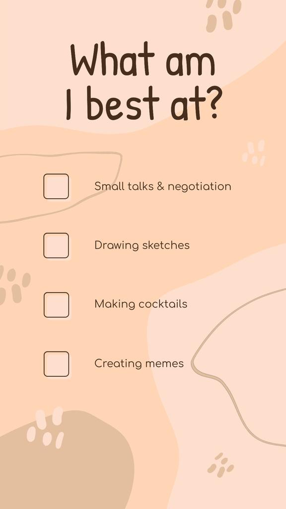 What am I best at Checkbox list in pink — Crear un diseño