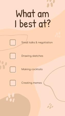 Template di design What am I best at Checkbox list in pink Instagram Video Story