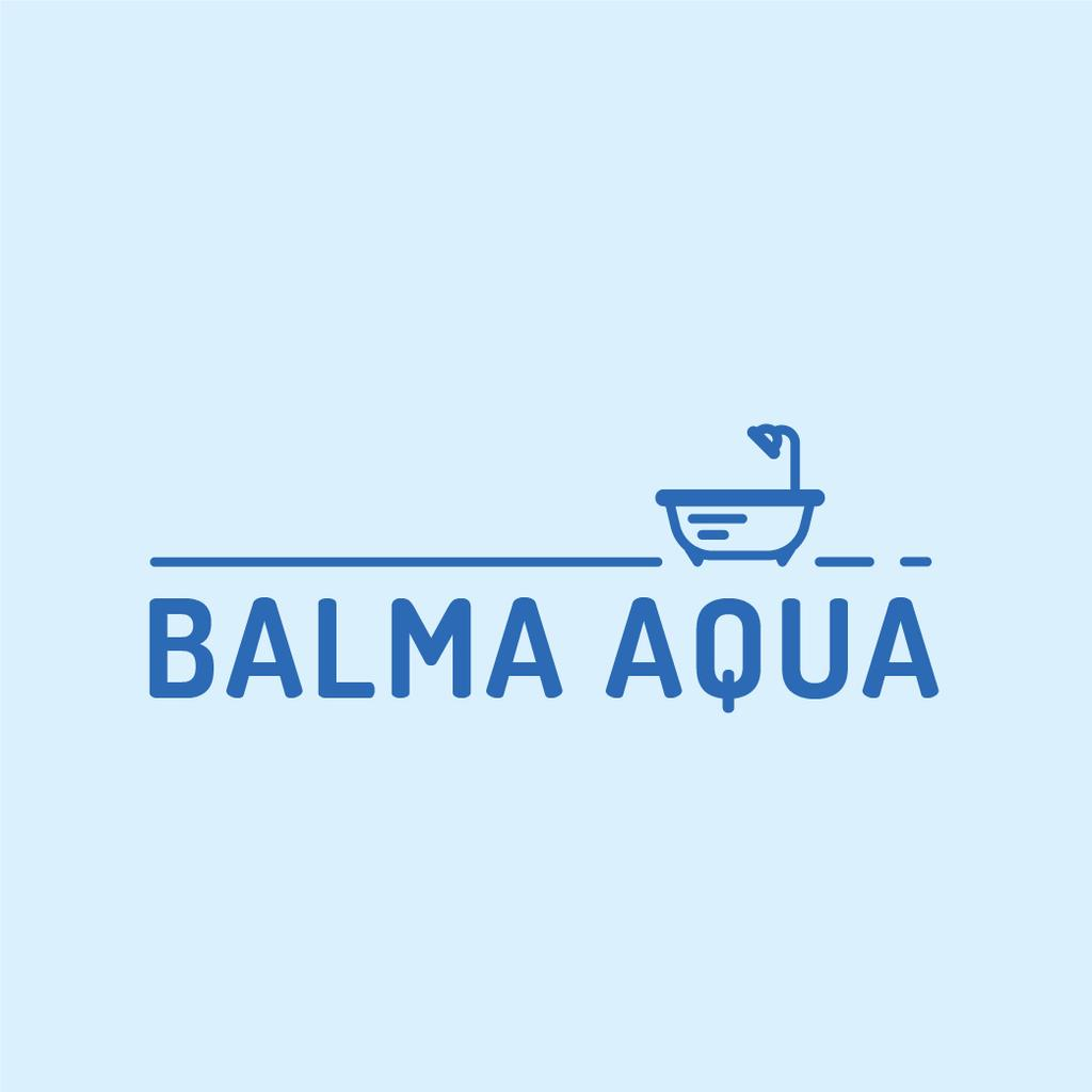 Designvorlage Bathtub with Shower Icon in Blue für Logo