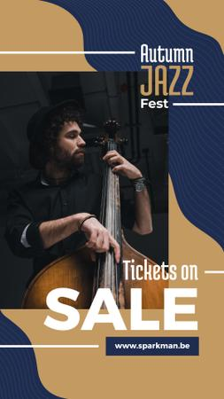 Jazz Music Event Invitation Man Playing Bass Instagram Story Modelo de Design