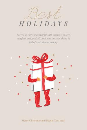 Modèle de visuel Winter Holidays Greeting with Christmas Gift - Pinterest
