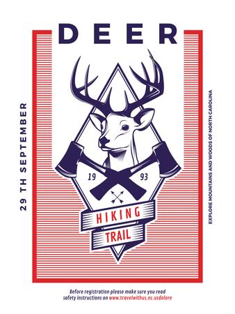 Hiking Trail Ad Deer Icon in Red Poster US Modelo de Design