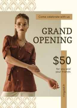 Grand Opening Fashionable Woman in Brown Outfit | Flyer Template