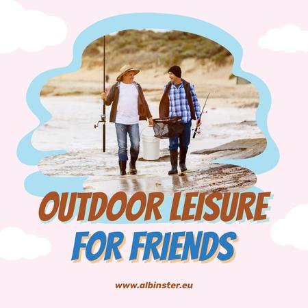 Template di design Two men fishing together on Best Friends Day Instagram