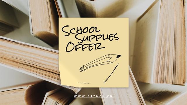 Back to School Sale Paper Books Full HD video Design Template