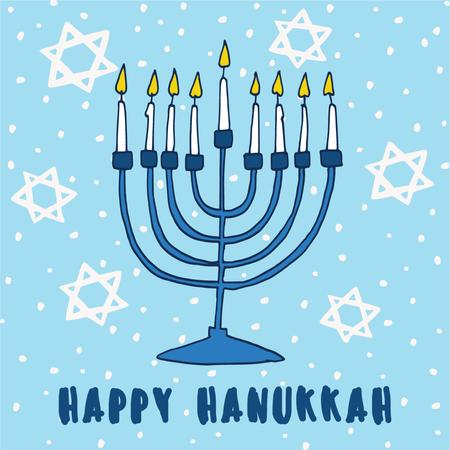 Template di design Happy Hanukkah Greeting with Stars of David pattern Instagram